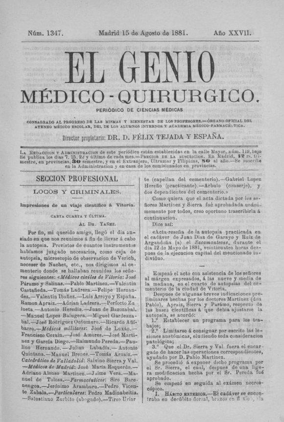 11. El Genio médico-quirúrgico (15-8-1881) Tolosa Latour-1.jpg