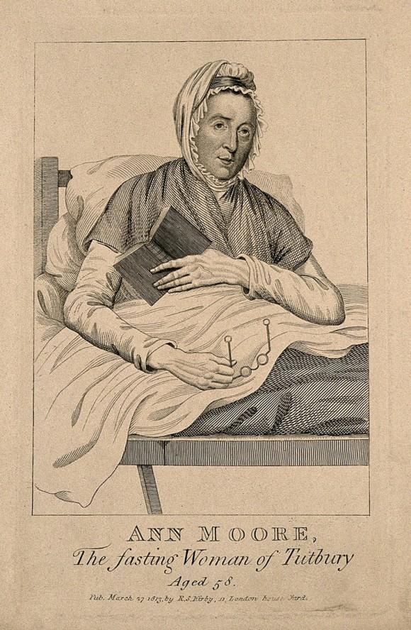 Ann Moore, a fraudulent fasting woman, aged 58. Engraving, 1813.jpg