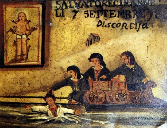 1870 - Salvato da San Sebastiano mentre stava annegando (Siracusa)