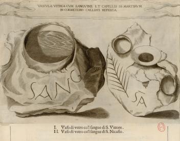 "Diseño de un supuesto 'vas sanguini', procedente la obra ""Roma sotterranea"" de Antonio Bosi (1634)"